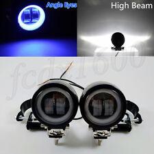 2x 12V Blue Halo Ring ATV Scooter LED Spot Head Fog Light Bar Mount w/ Bracket