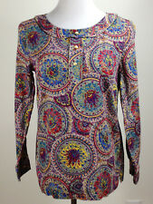 TALBOTS L/S Lightweight Cotton Colorful FLORAL Pullover Blouse (Straight Hem)- 8