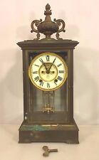 Antique Ansonia Crystal Regulator Clock Porcelain Face Runs/Strikes Bronze Case
