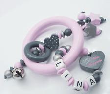 Greifling mit Namen Mädchen Holz grau rosa Prinzessin Baby Geschenk Greifring