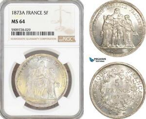 AF746, France, Third Republic, 5 Francs 1873-A, Paris, Silver, NGC MS64