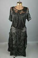 VTG Women's 20s Long Drop Waist Black Flapper Dress Sz S #2864 1920s