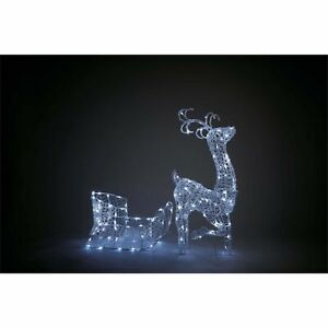 Ex Display Homebase 140 LED Reindeer & Sleigh Silhouette Xmas - Bright White