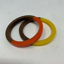 Wooden Bangles Plastic Accent Bracelets Set of 2 Orange Yellow Boho