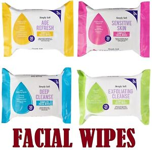 Simply Soft Face Facial Wipes Deep Cleaning Sensitive Skin Make Up Hand Body UK