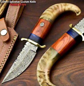 Rare!!! Custom Handmade Damascus Steel Blade Hunting Knife   Ram Horn
