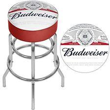 """Budweiser Padded Bar Stool - Swivel - 30"""" Chrome Base Label Design"""