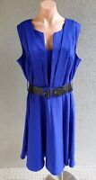 💜 CITY CHIC Sleeveless Belted A-Line Dress Blue Size M PLUS Buy7=FreePost L815
