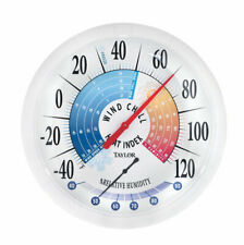 Taylor  Wind Chill and Heat Index  13-1/4in Indoor and Outdoor  Dial Thermometer