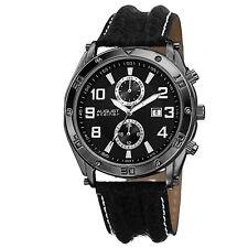 Men's August Steiner AS8117BK Swiss Quartz Day/Date Black Leather Strap Watch