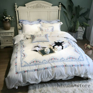 Egyptian Cotton White Bedding Set Luxury Duvet Cover Set Queen King Bed Sheet