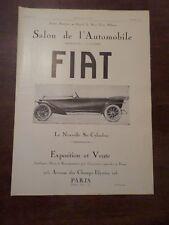 Publicité ancienne 1919 Fiat 6 cylindres Pub 41 x 29.5 advert ancètre old car