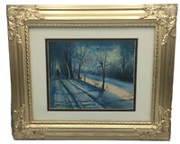 New England Winter Scene Oil Painting Signed L. Harder Matted Framed Bright Gold
