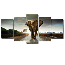 Canvas Prints Painting Wall Art Home Decor Picture Photo Brown Elephant Framed
