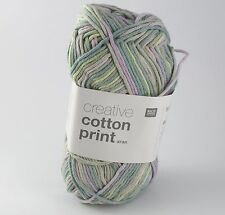 Rico Creative Cotton Aran Print Knitting & Crochet Yarn - Green Lilac Mix 017