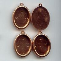 6 VINTAGE COPPER COATED ACRYLIC 25x18mm. OVAL SETTING PENDANTS 1996