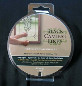 Brewster Home Fashions ~ Black Caming Lines Stained Glass Appliqué Sticker 6'