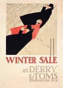 Winter Sale at Derry & Toms, 1919, Edward McKnight Kauffer Art Deco Poster