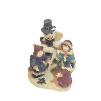 Vintage Hand Painted Snowman 3 Girls Singing Holiday Joy Christmas Carols Great