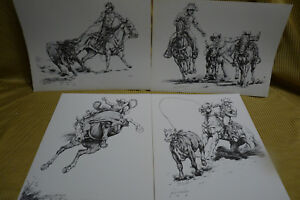 "Set of 4 Vintage Cowboy Prints by Gary Ericsson  12"" X 16"""