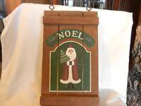 Noel Santa Claus Folk Art Wooden Door Hanger Hand Made Brown Wood