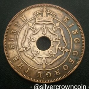 Rhodesia Southern Zimbabwe 1 Penny 1951. KM#25. Holed One Cent coin. George VI.