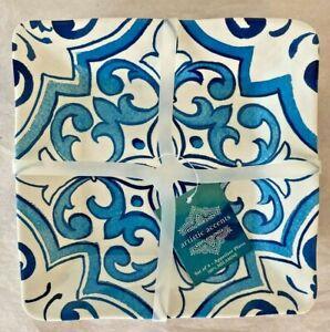 NEW, SET OF 4: ARTISTIC ACCENTS BLUE & WHITE MELAMINE APPETIZER PLATES ~ D24
