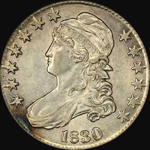 FLASHY BOLD PCGS AU53 1830 LARGE O CAPPED BUST HALF DOLLAR 50C A+ LUSTRE LIBERTY