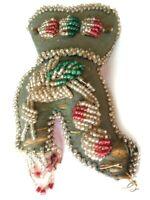 Vintage Beaded Whimsey Beadwork Shoe Shaped Pocket-Flowers-Multi-Colors-