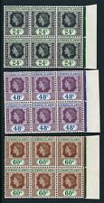 Leeward Islands QEII 1954 12 Right Marginal Blocks of 6 Two Flaws Unmounted Mint