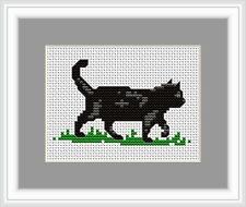 Black Cat Cross Stitch Kit By Luca S Ideal Beginner 9 x 6cm