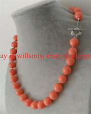 Fashion 10mm Coral Pink South Sea Shell Pearl Round Gemstone Necklace 18'' AAA