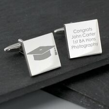 Personalised Graduation Silver Cufflinks + Gift Box