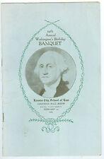 Feb 22, 1929 Washington's Birthday Banquet, Kansas City School of Law Menu