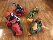 vintage he-man action figures lot 4 Figures And 4 Vehicles