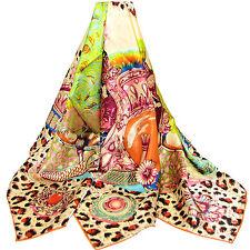 "Women's 100% Satin Silk Scarf / Multi-colored / Animal Print / 42"" X 42"""