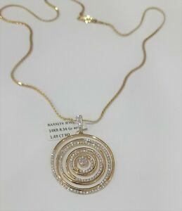 "14K YG 1.49 Carat Diamond Circle Spiral Pendant + 14K Solid Gold 18"" Chain - NWT"