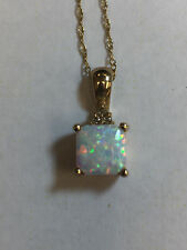 10K yellow gold 7 X 7mm Natural Opal and diamond necklace with 18 inch chain