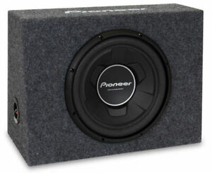 """Pioneer TSWX126B 1300W 4-Ohm Single Voice Coil 12"""" Loaded Subwoofer Enclosure"""
