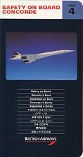 BRITISH AIRWAYS CONCORDE SAFETY CARD ISSUE 4 1992