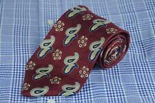 Joseph Abboud Men's Tie Burgundy Gray & Blue Paisley Silk Neck 58 x 3.75 in.