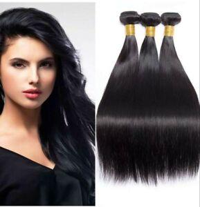 3Bundles + closure Peruvian 10A Virgin Remy Human Hair Extensions Weave Weft UK