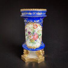 Petit vase cylindrique ancien en porcelaine de Paris à décor de fleurs