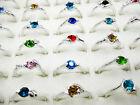 5Pcs Wholesale Lots Fashion Jewelry Crystal CZ Rhinestone Silver Plate Ring FREE