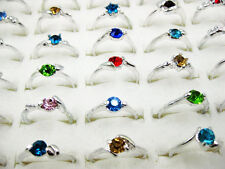 10Ps Wholesale Lots Fashion Jewelry Crystal CZ Rhinestone Silver Plate Ring FREE