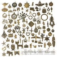 96pcs Antique Vtg Old Look Bronze Skeleton Charm Fancy Heart Bow Pendant Jewelry