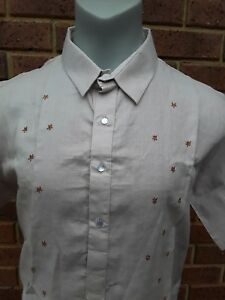 New Brown LINENMen's Barong tagalog Short Sleeve BT 410  SIZE XL 50% off RRP $60