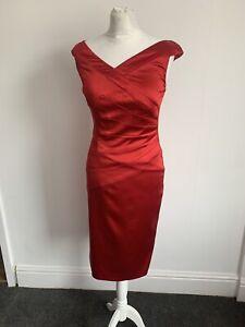 Women's Coast Red Sleeveless Mock Cross Over Dress Size 8