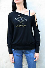 Denny Rose Shoulder off scarab Black Gold Casuals  scrabbe Top Italy L T-Shirt