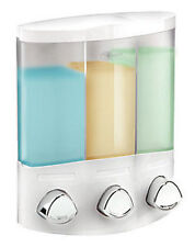 Croydex Euro Trio 3 Chambers White Wall Mounted Triple Shampoo Soap Dispenser